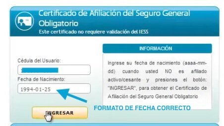 Certificado de No estar afiliado al IESS fecha de nacimiento