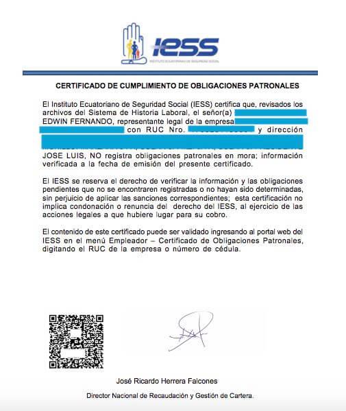 Certificado de no adeudar al IESS empleador