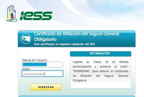 Ingresar clave de afiliado IESS