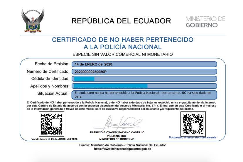 Certificado de no haber pertenecido a la Policia Nacional Ecuador pdf