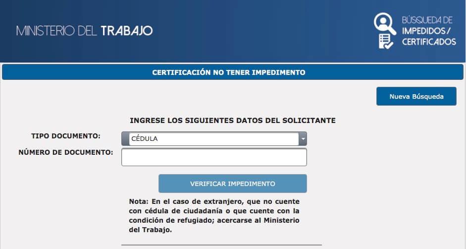 Datos solicitante certificacion de no tener impedimento