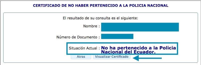Situacion actual Certificado de no haber sido dado de baja de la policia nacional