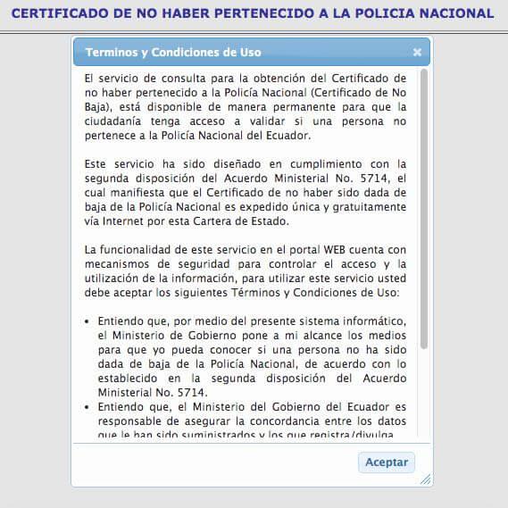 Términos de uso Certificado de no pertenecer a la Policía Nacional