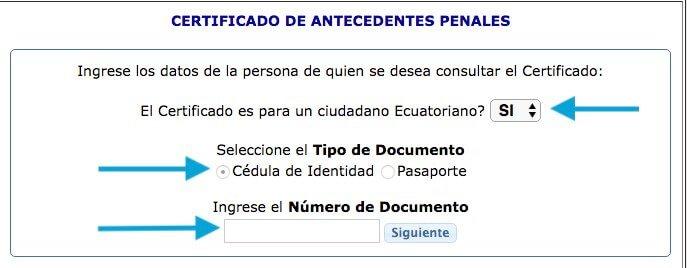datos de persona certificado de antecedentes penales