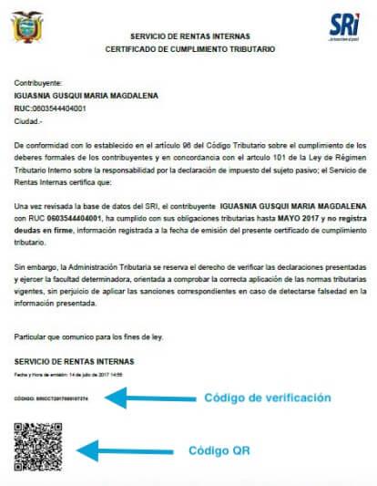 Certificado de Cumplimiento Tributario SRI
