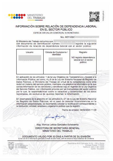 Certificado de Dependencia Laboral en el Sector Público