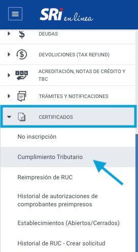 Certificados SRI cumplimiento Tributario