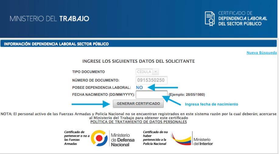 Informacion dependencia laboral Sector Público MDT