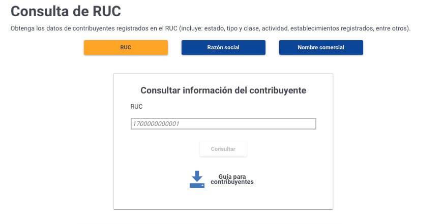 Consulta de RUC en linea