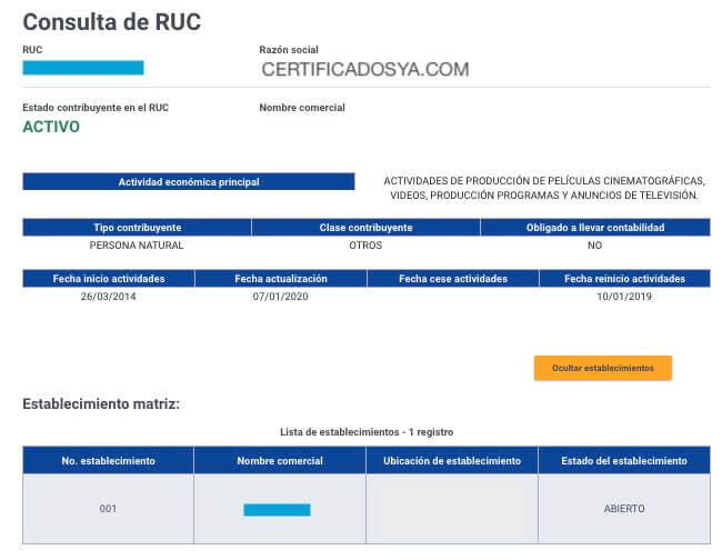 Datos del contribuyente segun la consulta de RUC