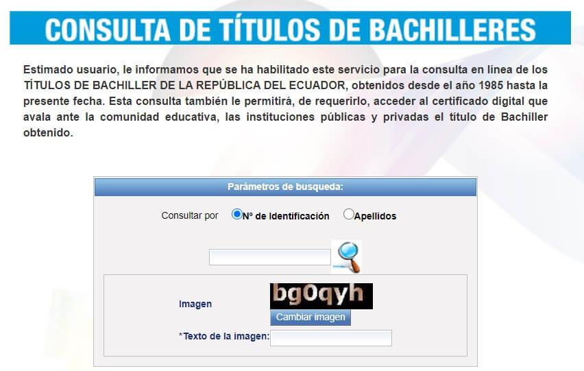 Consulta de títulos de bachiller Ecuador
