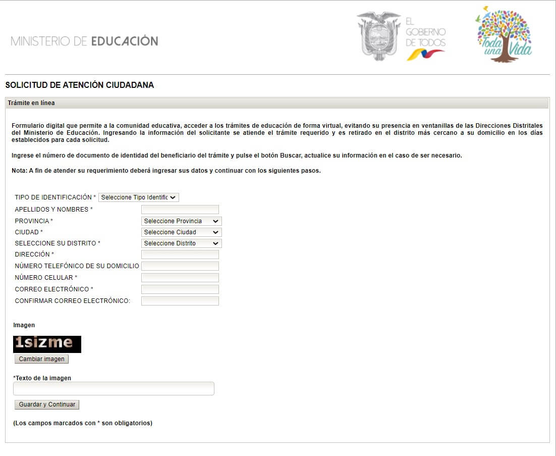 Solicitud de tramites en linea Certificado de estudios primarios