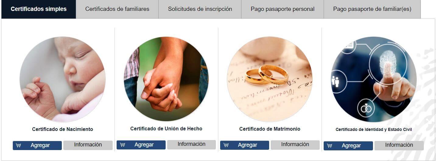 Certificado de identidad y estado Civil Agencia virtual Registro Civil