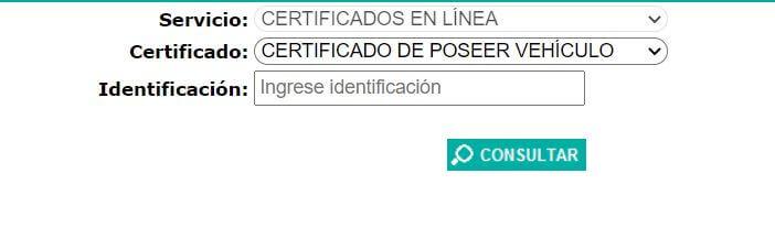 Certificado de poseer vehiculo ANT 2